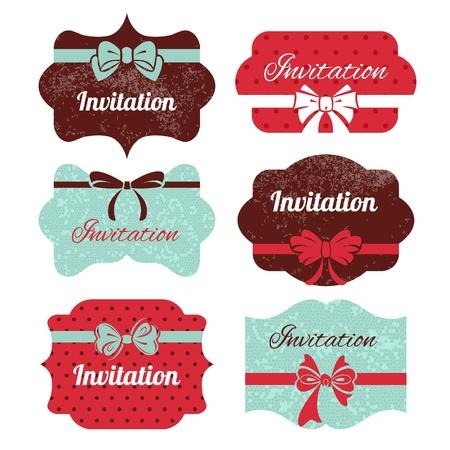 scroll banner: Set of vintage frames. Stickers for wedding design   Illustration