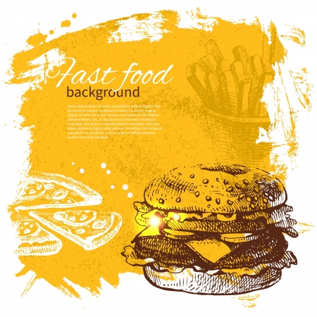 birthday food: Vintage fast food background. Hand drawn illustration