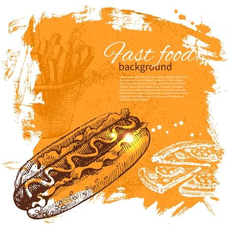 hot dog: Vintage fast food background. Hand drawn illustration