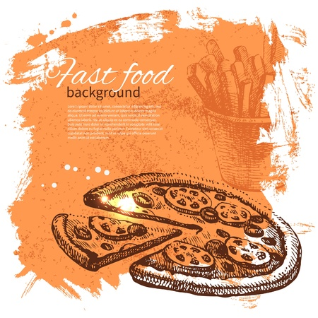 pepperoni pizza: Vintage fast food background. Hand drawn illustration