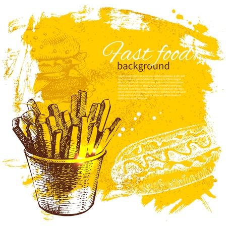 Vintage fast food background. Hand drawn illustration Vector