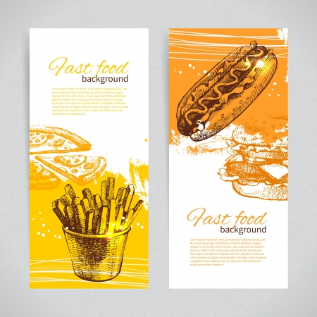 burger and fries: Banners of fast food design. Hand drawn illustrations. Splash blob backgrounds