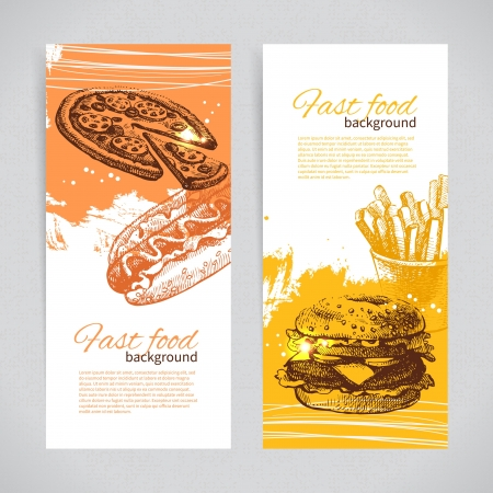 burger and fries: Banners of fast food design  Hand drawn illustrations  Splash blob backgrounds Illustration
