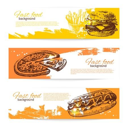 perro caliente: Banners de la comida r�pida de dise�o Dibujado a mano ilustraciones Splash gota antecedentes Vectores