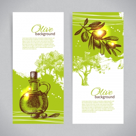 Banner set of vintage olive background splash backgrounds Vector
