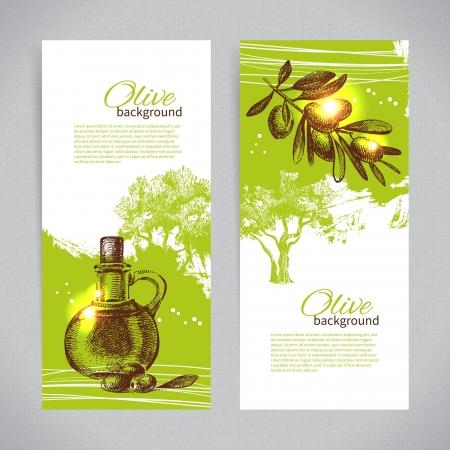 sauces: Banner set of vintage olive background splash backgrounds