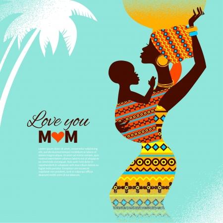 ni�os africanos: Silueta hermosa de la madre y el beb� africano negro en tarjetas de estilo retro de madre feliz Vectores