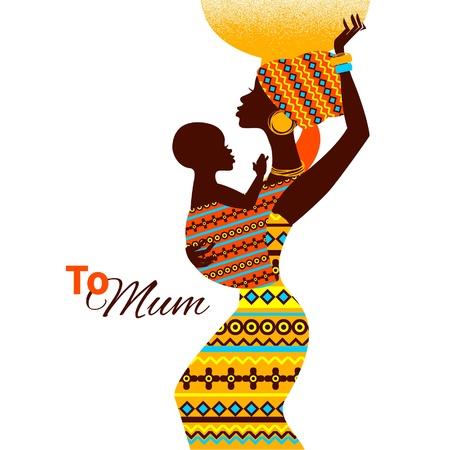 femme africaine: Belle silhouette de la m�re et du b�b� africain noir dans cartes de style r�tro de m�re heureux Illustration