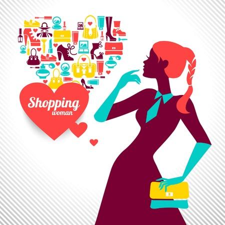 filles shopping: Shopping femme silhouette design �l�gant �l�gant Illustration