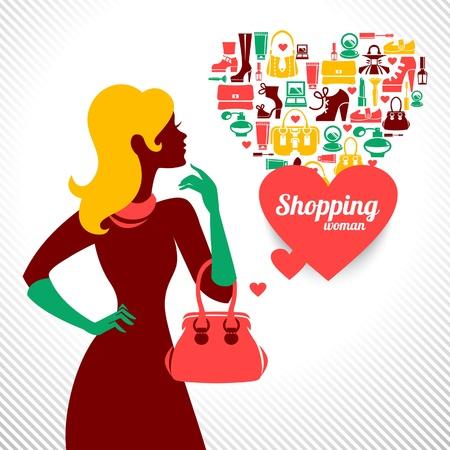 infogaphics: Shopping woman silhouette  Elegant stylish design