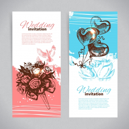 Wedding invitations. Banner set of vintage hand drawn wedding backgrounds Vector