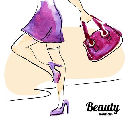 Aquarelle design femme d'achats. Fond de cru avec la silhouette belle fille.