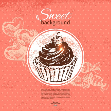 Vintage sweet background. Hand drawn illustration. Menu for restaurant and cafe Stock Vector - 19352073