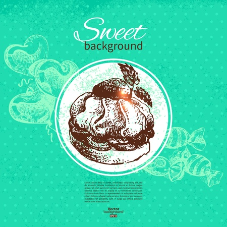 Vintage sweet background. Hand drawn illustration. Menu for restaurant and cafe Vector