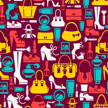 the accessory: Seamless pattern with beauty female icons
