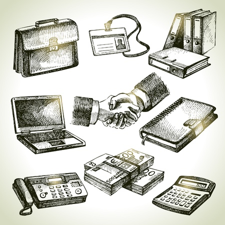 calculator money: Business set. Hand drawn illustrations  Illustration