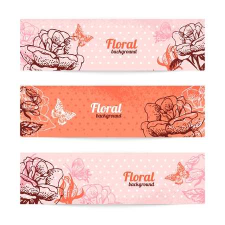 Vintage floral banners. Hand drawn illustration of rose Stock Vector - 19352012