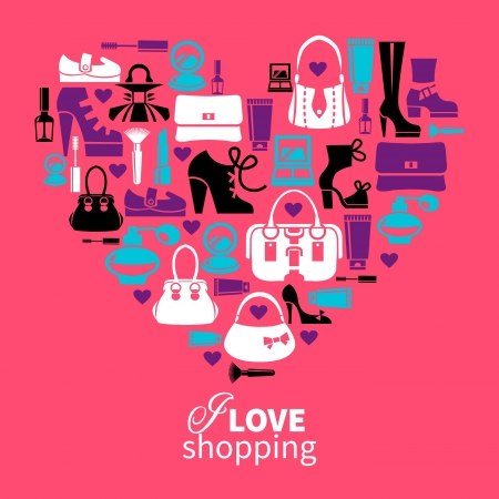 womens fashion: Shopping love - heart with set of vector fashion womens icons