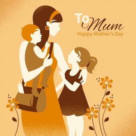moeder met baby: Mooie moeder silhouet met haar kinderen. Kaarten van Happy Mother's Day Stock Illustratie