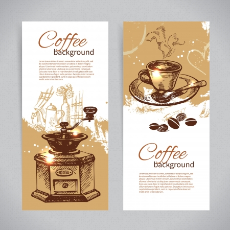 coffeehouse: Banner set of vintage coffee backgrounds. Menu for restaurant, cafe, bar, coffeehouse