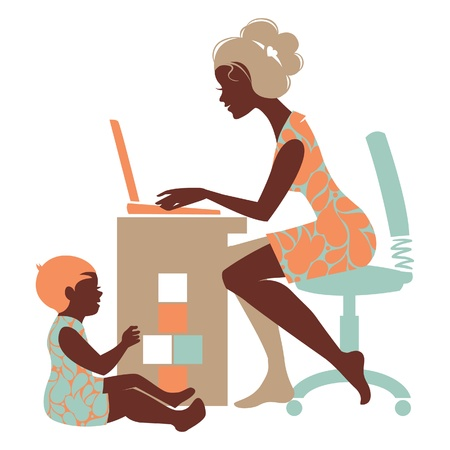 Beautiful silhouette of mother freelancer with notebook and baby playing with toys Vector