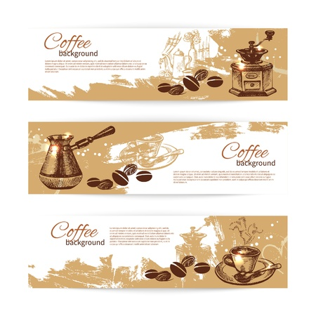 coffee mill: Banner set of vintage coffee backgrounds. Menu for restaurant, cafe, bar, coffeehouse