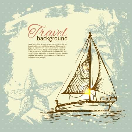 Travel hand drawn vintage tropical design. Splash blob retro background Vector