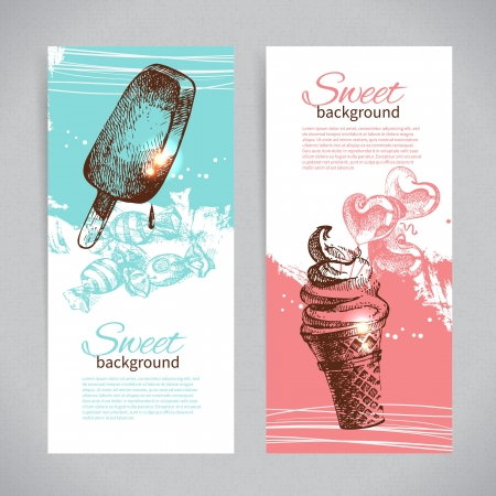 ice cream: Banner set of vintage hand drawn sweet backgrounds. Menu for restaurant and cafe
