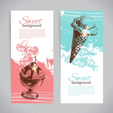 ice: Banner set of vintage hand drawn sweet backgrounds. Menu for restaurant and cafe