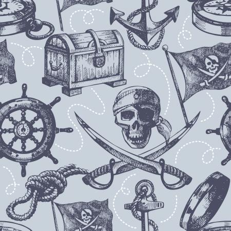 barco pirata: Dibujado a mano pirata sin patr�n Vectores