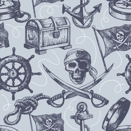 schooner: Hand drawn pirate seamless pattern