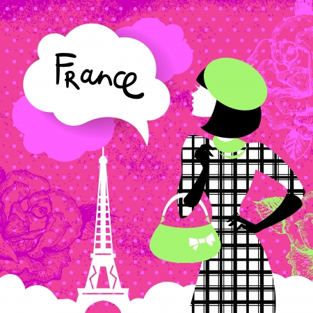 Stylish retro background with shopping woman silhouette in France. Vintage elegant design with hand drawn flowers and symbol of Paris - Eiffel Tower Vector
