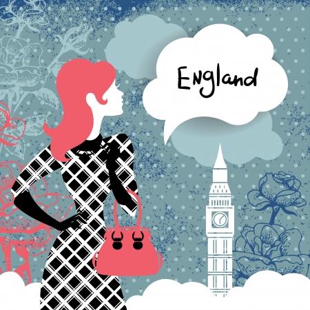 mujer con rosas: Fondo retro con estilo con las compras silueta de la mujer en Inglaterra Vintage dise�o elegante con flores dibujadas a mano y el s�mbolo de Londres Big Ben