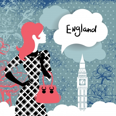 Stylish retro background with shopping woman silhouette in England  Vintage elegant design with hand drawn flowers and symbol of London Big Ben Vector