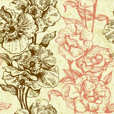 Vintage seamless floral pattern  Hand drawn illustration  Vector
