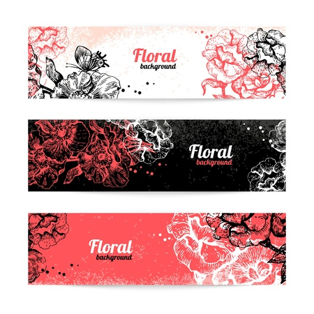 Banners with floral background  Hand drawn illustration of roses Vector