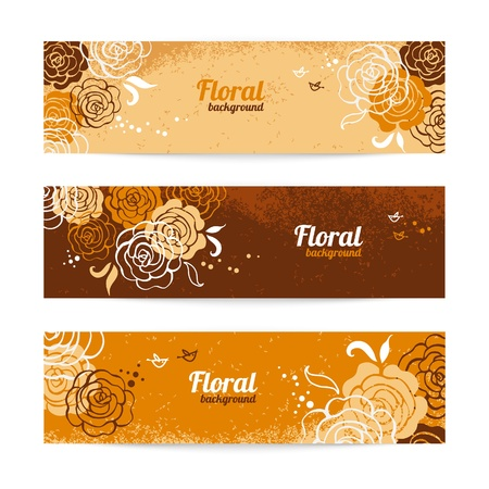 Banners with floral background  Hand drawn illustration of roses Stock Vector - 19715058