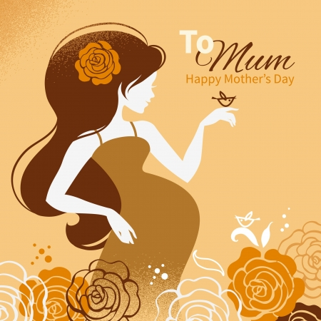 Vintage background with silhouette of beautiful pregnant woman  Cards of Happy Mother Vector