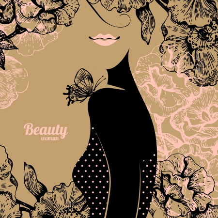 Beautiful girl silhouette  Vintage retro background with hand drawn rose flowers Vector