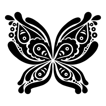 Beautiful butterfly tattoo  Artistic pattern in butterfly shape  Vector