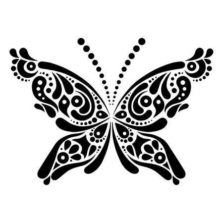 Beautiful butterfly tattoo  Artistic pattern in butterfly shape Stock Vector - 19714285