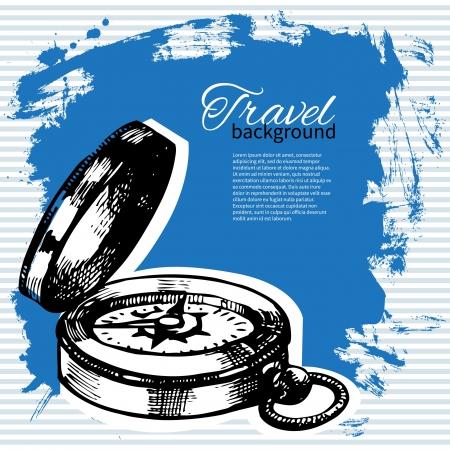 Travel vintage background  Sea nautical design  Hand drawn illustration Stock Vector - 19715136
