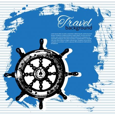 navigating: Travel vintage background  Sea nautical design  Hand drawn illustration