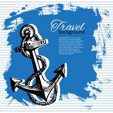 Travel vintage background. Sea nautical design. Hand drawn illustration Stock Vector - 19715138