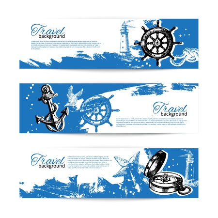 nautical vessel: Banner set of travel vintage backgrounds. Sea nautical design. Hand drawn illustrations  Illustration