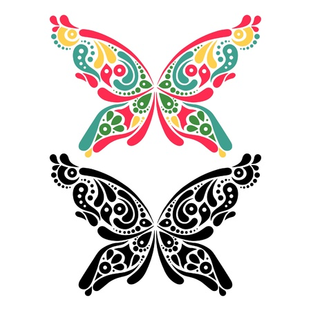 Beautiful butterfly tattoo. Artistic pattern in butterfly shape. Color and black and white version  Vector