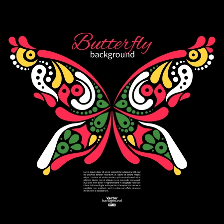 butterfly tattoo: Background with beautiful butterfly. Tattoo illustration Illustration