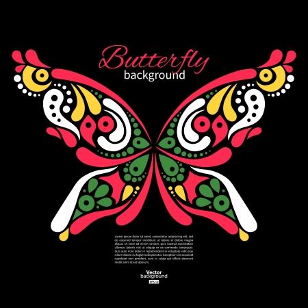 tatouage papillon: Contexte avec beau papillon. Tattoo illustration