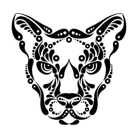 leopard cat: Puma tattoo, symbol decoration illustration