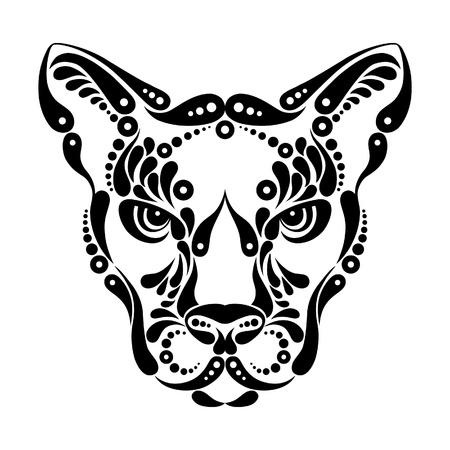 cougar: Puma tattoo, symbol decoration illustration